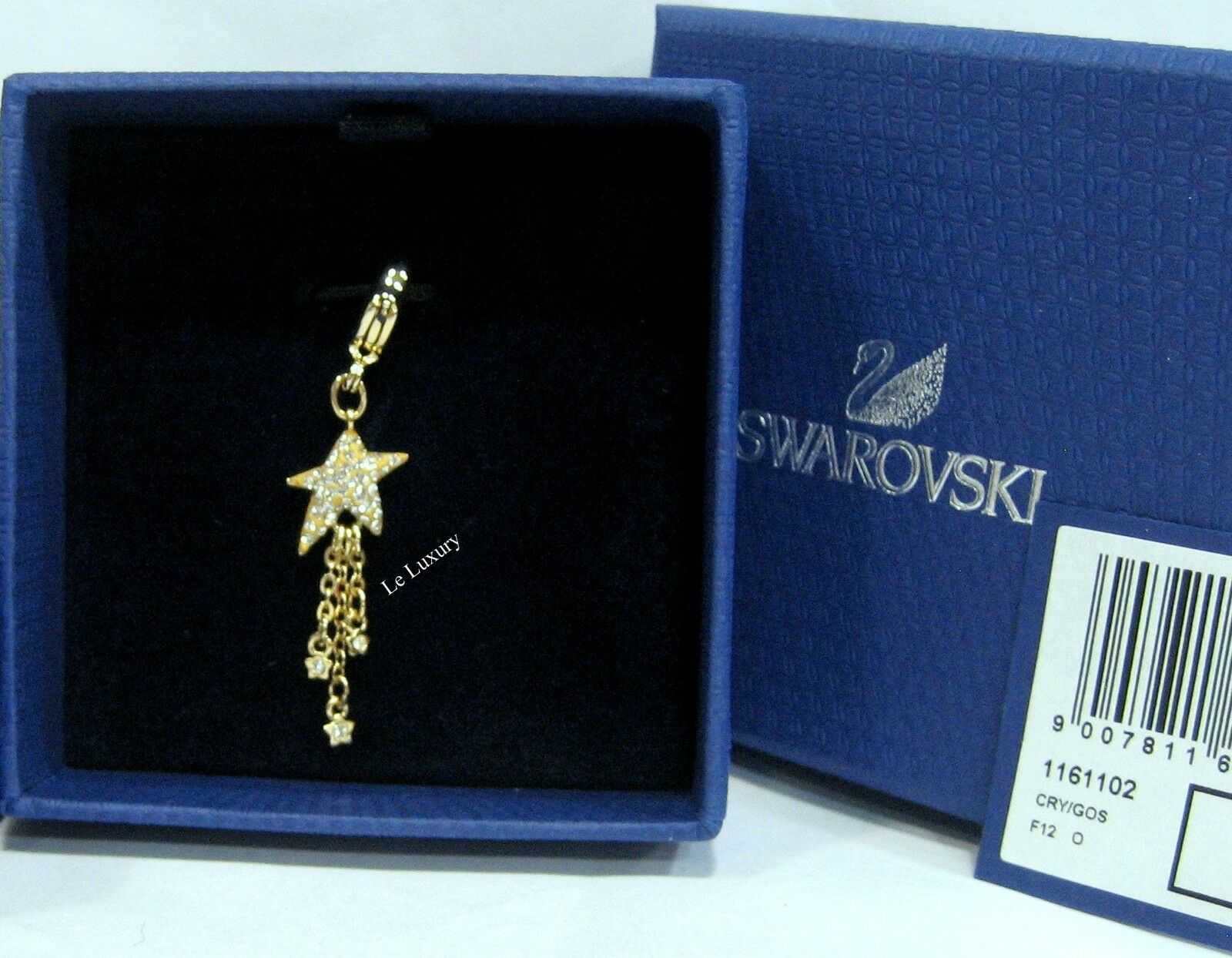 Swarovski Shooting Star Charm, Wishing gold-Plated Crystal Authentic MIB 1161102