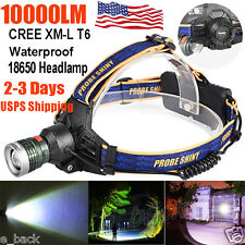 10000LM LED Headlight Flashlight Torch Cree XM-L T6 Headlamp Head Light Lamp Hot