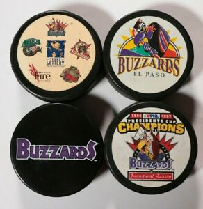 Lot-of-4-El-Paso-Buzzards-Pucks-Hockey-Puck-Texas-CHL-Presidents-Cup-Champions