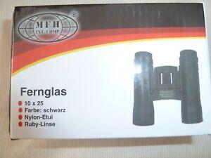 Fernglas-MFH-10x25-Farbe-schwarz-Nylon-Etui-und-Ruby-Linse