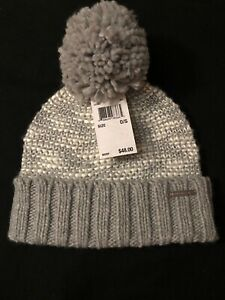 caad7ae7d Details about Michael Kors Cable Knit Pompom Beanie Hat Winter Cap Heather  Gray New