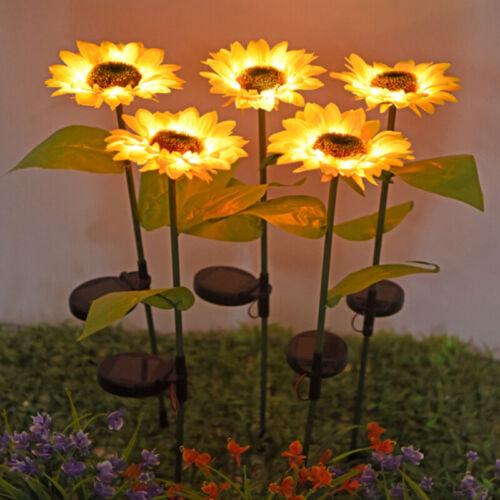 LED SUNFLOWERLAMPE Solarleuchte Solarlampe Gartenleuchte Light mit Erdspieß