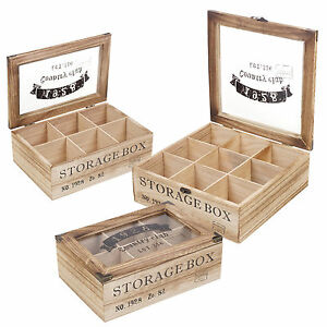 Image is loading Wooden-Tea-Box-6-Or-9-Section-Compartments-  sc 1 st  eBay & Wooden Tea Box 6 Or 9 Section Compartments Glass Lid Multi Storage ...