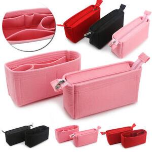 ed76c102be 2Pcs Felt Insert Organizer Bag In Bag Handbag Multi Pocket Purse ...