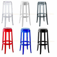 "SET OF 2 CLEAR ROUND ACRYLIC GHOST BAR STOOLS 29.5"" WHI, SMOKE, RED, BLU, BLK"