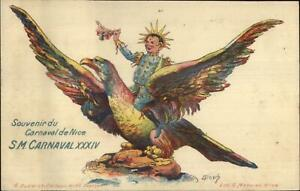 Nice-France-Carnaval-Jester-Riding-Giant-Eagle-GREAT-ART-cc1900-Postcard