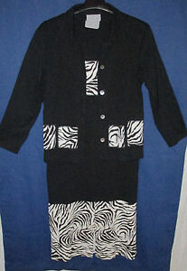 Cover-Charge-Maxi-Dress-Matching-Jacket-Black-with-Zebra-Trim-Womens-M