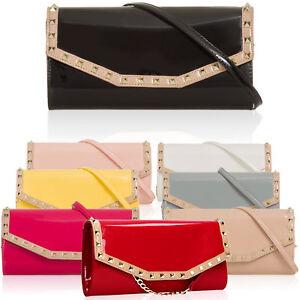 Patent-Leather-Medium-Women-Evening-Bags-Vintage-Stud-Envelope-Clutch-Long-Strap