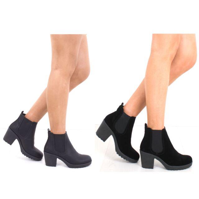 Womens Diana Black Chunky Block Heeled Ladies Chelsea Boots Size UK