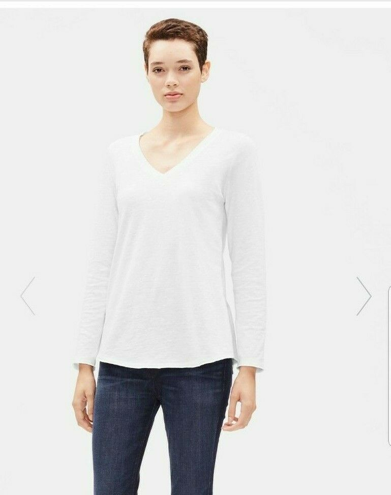NWT Eileen Fisher Weiß V-Neck Top Slubby Organic Cotton Jersey knit long sleeve