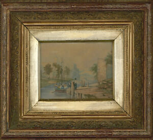 Gilt-Framed-Late-19th-Century-Watercolour-Continental-River-Scene