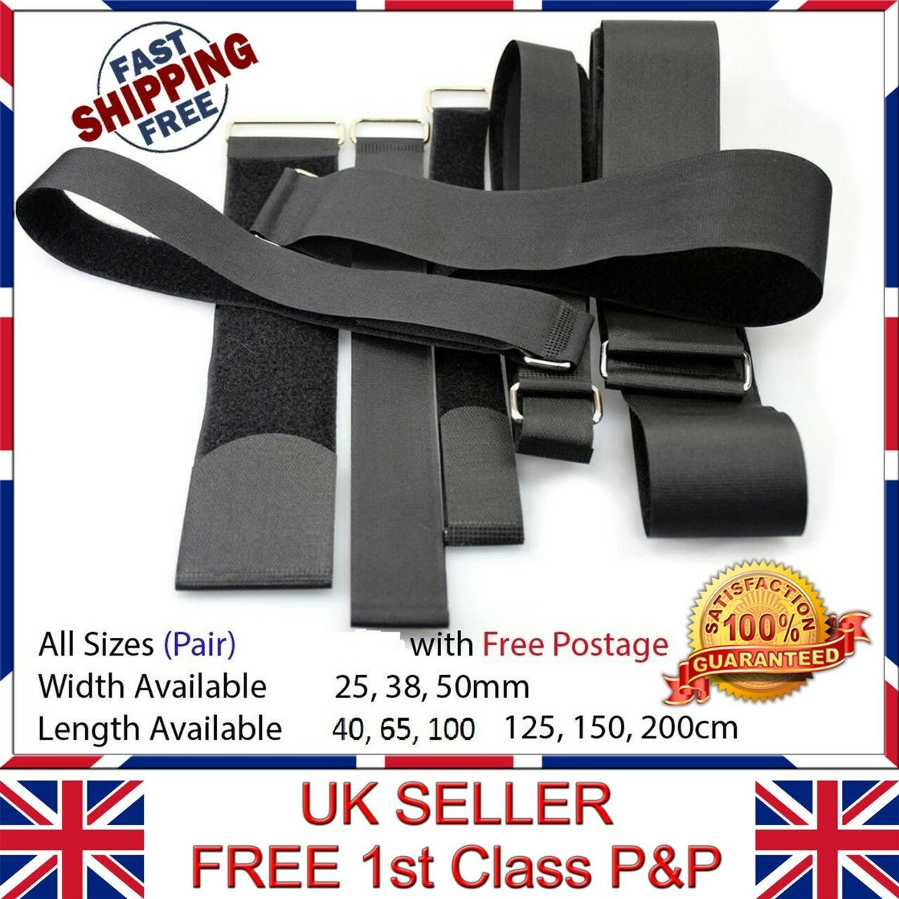 "1/"" x 70cm Hook and Loop Cinch straps Fastener Tape 5pcs 25mm"
