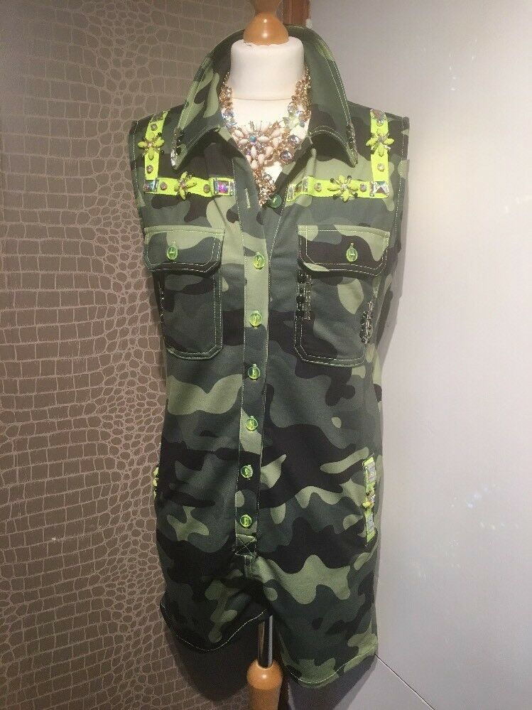 Nice Istanbul Jewelled Camouflage Playsuit Size M New Without Tags