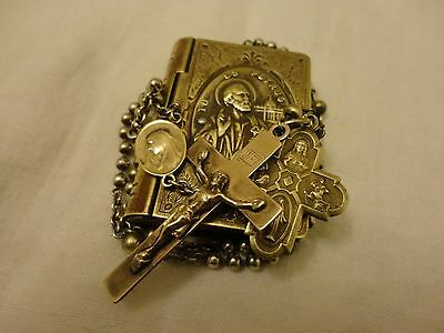 ANTIQUE Brass Soldiers Rosary Pull Chain Medals Military WWI St Peter Box VTG.