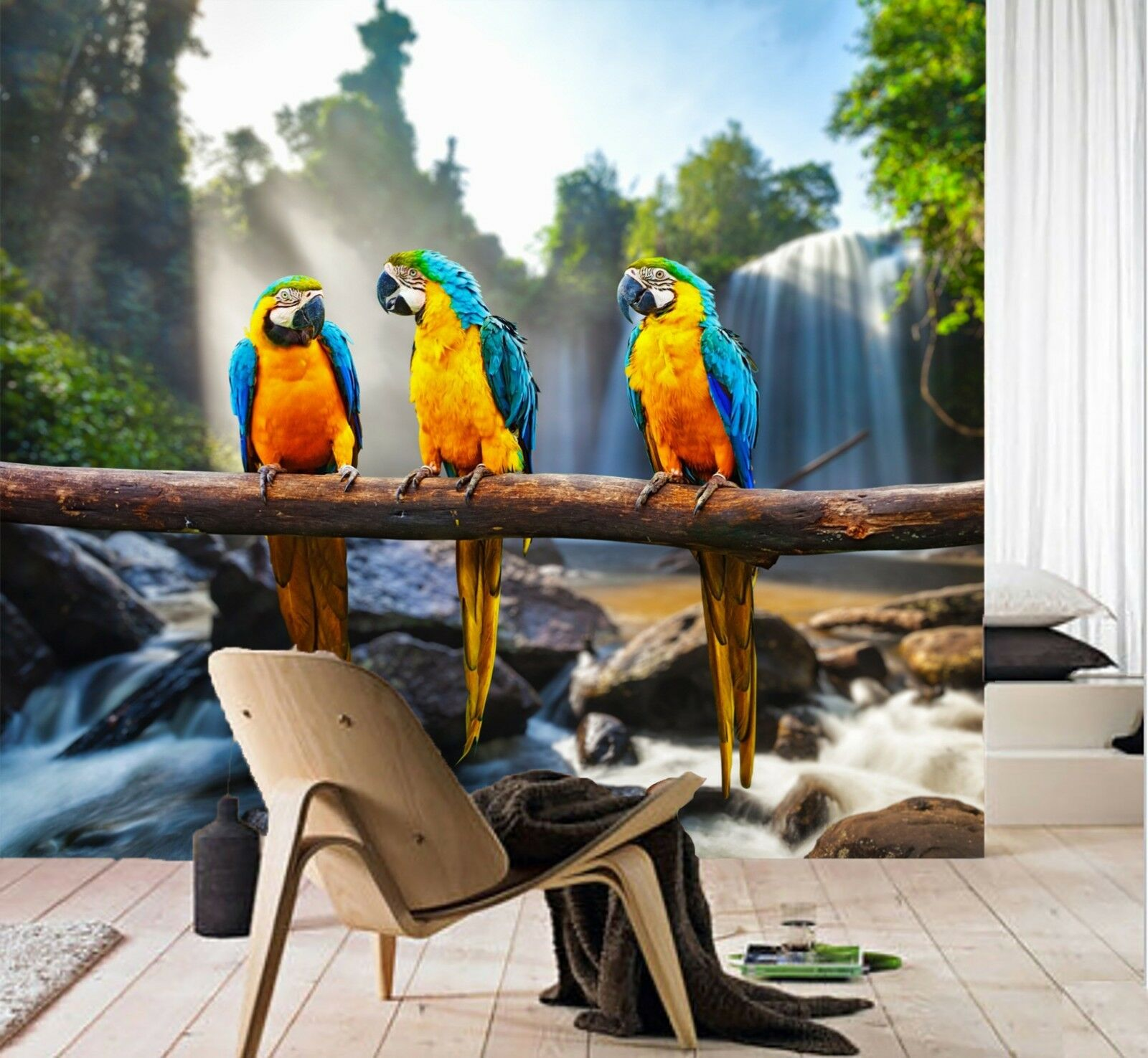 3D Farbe Parrot Parrot Parrot Branches Wall Paper wall Print Decal Wall Deco Indoor wall Mural 00ea56