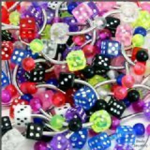 10 14g UV Reactive Dice Belly Rings WHOLESALE Body Jewelry Piercing Lot SALE