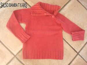 PULL-FILLE-ROSE-DE-MARQUE-SALSO-BAMBA-BOUTONS-EPAULES-T-6-ANS-IMPECCABLE
