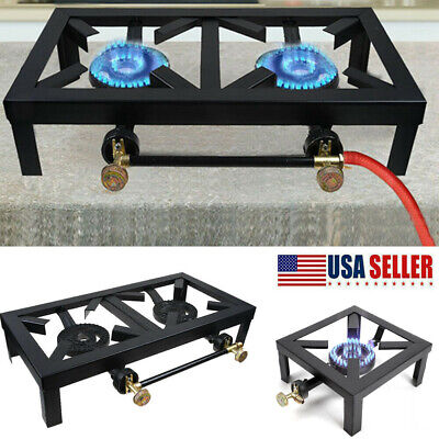 Camping Stove Double//Single Burner Cast Iron Propane Gas LPG Stove BBQ Cooker