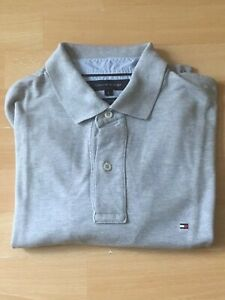 4af019b5 Tommy Hilfiger 40's Two-Ply Cotton Regular Fit Grey Polo Men's Large ...