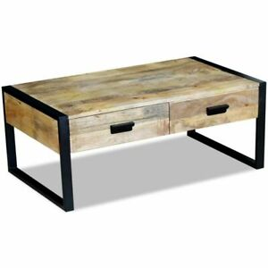 Details About Vidaxl Solid Mango Wood Coffee Table With 2 Drawers 100x60x40cm Living Room