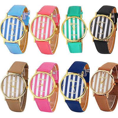Popular Unisex Geneva Stripes Print Leatheroid Analog Quartz Wrist Watch BJ8U