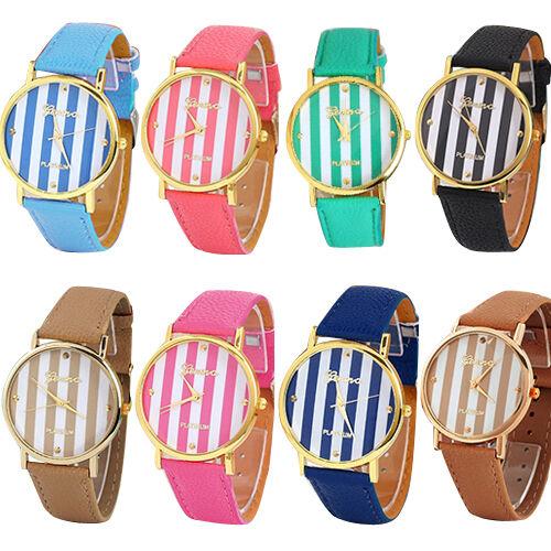 Unisex Classic Geneva Stripes Print Leatheroid Analog Quartz Wrist Watch B98U