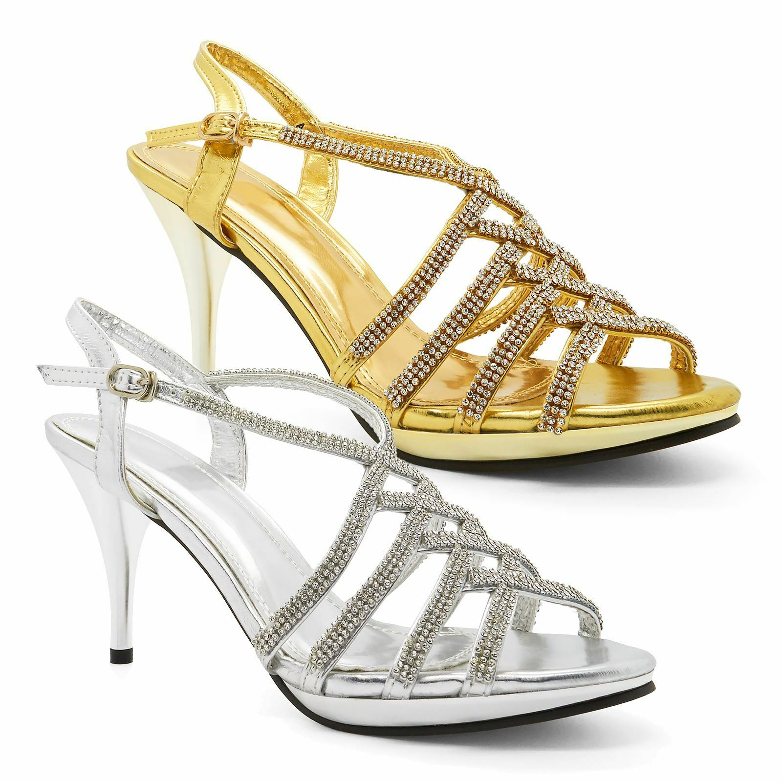 Womens New Ladies Bridal Diamante Party High Heel Sandals Size shoes UK Strappy