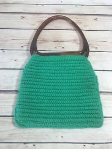 VINTAGE-GREEN-KNIT-HANDBAG-PURSE-BROWN-PLASTIC-HANDLES-FASHION