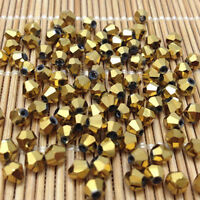 100pcs golden 4MM 5301#glitter Crystals luster delicateness Bicone Loose-