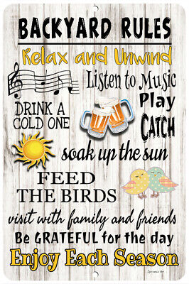 Backyard Rules Sign Home Decor Outdoor Sign 12x8 Metal Sign Ebay