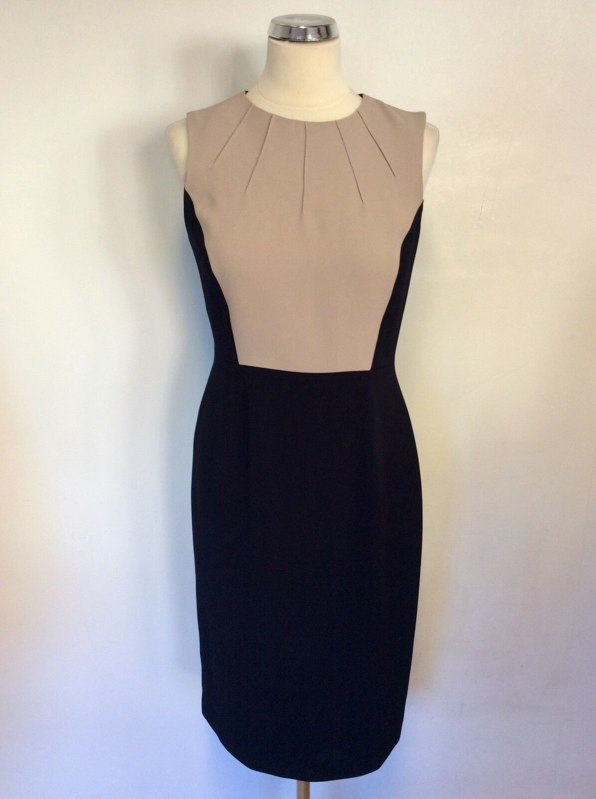 HOBBS NAVY blueE & CAMEL SLEEVELESS PENCIL DRESS SIZE 10