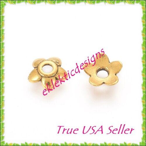 50pcs Antique Gold Tibetan Style 5 Petal Flower Bead Caps 6mm Jewelry Findings