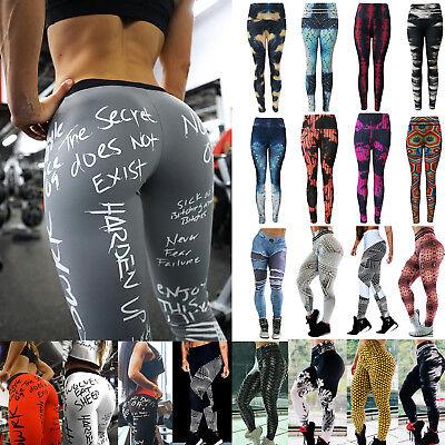 Women High Waist Yoga Pants Sports Print Leggings Gym Fitness Stretch Trousers V
