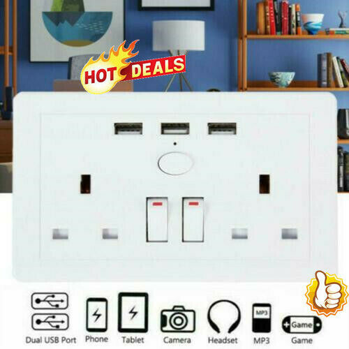 Double Wall UK Plug Socket 2 Gang 13A 3 USB Charger Port Outlets Plate White