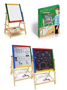 Marionette-Wooden-2-In-1-Childrens-Blackboard-Whiteboard-Drawing-Art-Chalk-Board