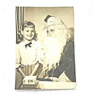 Photo-Photograph-5x7-1950s-Santa-Girl-Department-Store-Vintage-B-amp-W-Black-amp-White