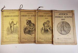 Lot of 4 antique Ayer's American Almanacs 1880, 1887, 1888, & 1897. Medicines.