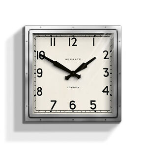 Details About Newgate Clocks Quad Silver Extra Large Square Metal Modern Wall Clock 40cm