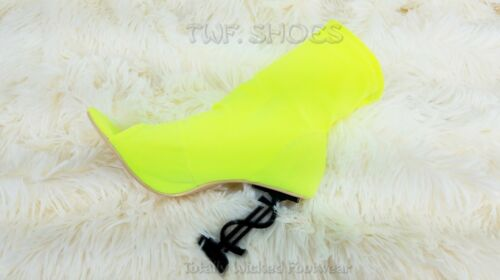 "CR Infinite Neon Colors Stretch Slip On Ankle Boots 4/"" Money Dollar $ Heels"