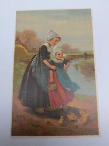 Meissner-amp-Buch-Dutch-Girls-Feeding-Ducks-House-amp-Harth-Leipzig-Kunstler-ART-PC
