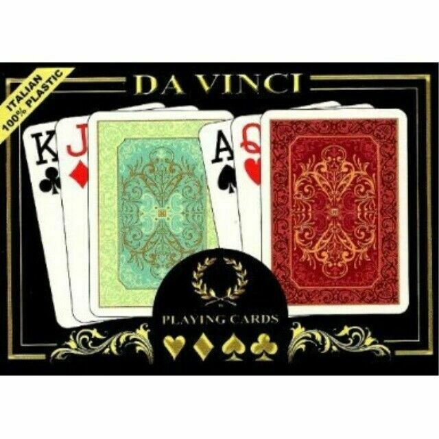 6 Red and 6 Blue Poker Size Standard Index DA VINCI Value Pack of 12 Decks of Paper Playing Cards with Plastic Coating Poker Size Large Index