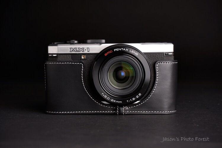 Genuine real Leather Half Camera Case Camera bag cover for Pentax MX-1 MX1 Black