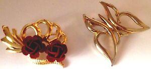 lot-de-2-broches-bijou-retro-de-couleur-or-papillon-roses-rouge-relief-516
