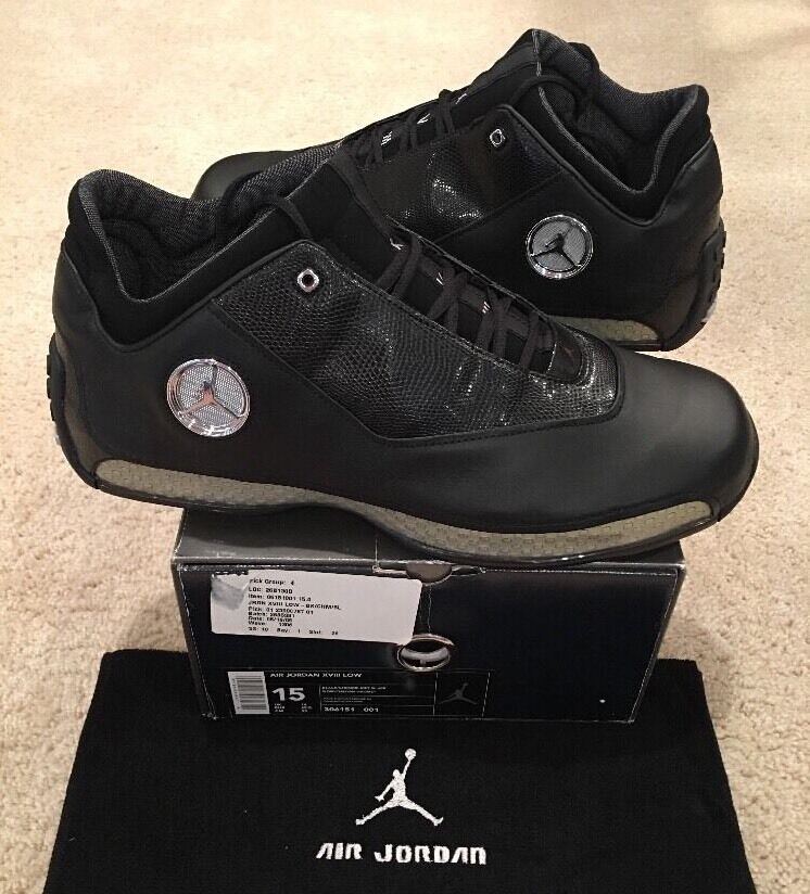 Nike Low Air Jordan 18 XVIII Low Nike Black Chrome Metallic Silver Size 15 New DS 2003 c4a7de