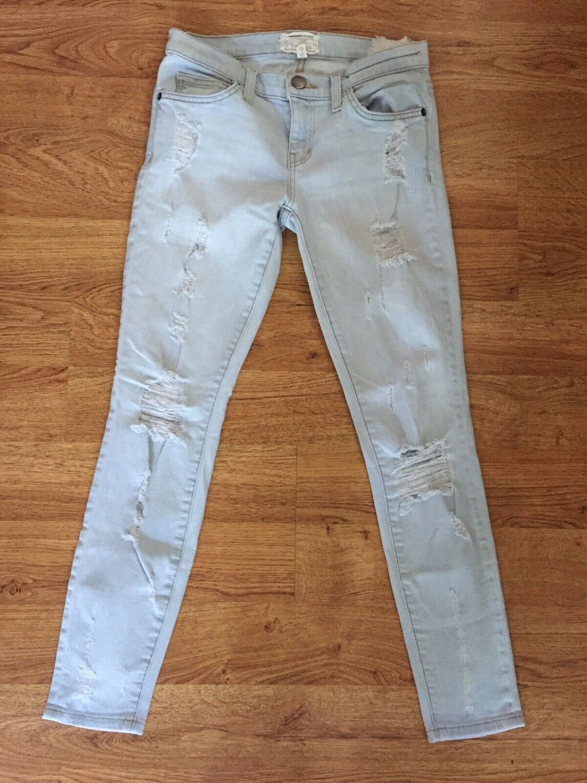 Current Elliott The Stiletto in Chalky Indigo Shredded Skinny Jeans Sz 25 0
