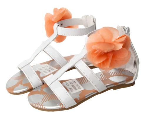 GIRLS WHITE FLOWER BRIDESMAID WEDDING HOLIDAY BEACH SUMMER SANDALS UK SIZE 6-10