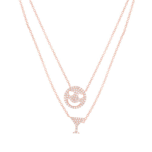 14K Rose Gold Diamond Smiley Face & Martini Charm Double Chain Pendant Necklace