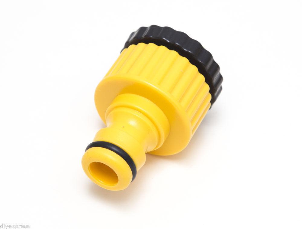 Neu 48 X yellow Schnellspann Fassung Garten Wasserhahn zu Schlauchanschluss Mit
