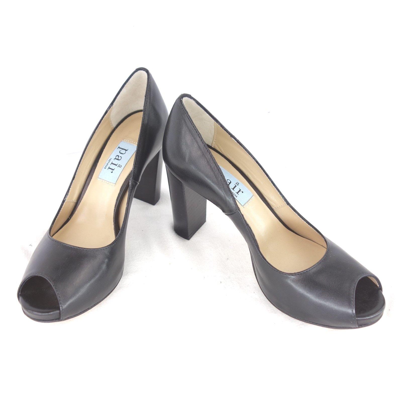 PAIR Footwear Rund Damen Pumps Schuhe Peeptoe Leder Glanz Schwarz Rund Footwear NP 295 NEU 5dd105