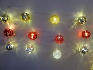 6ft 1.8m Light Up Bauble Christmas String Lights Christmas Decorations 3 Colours